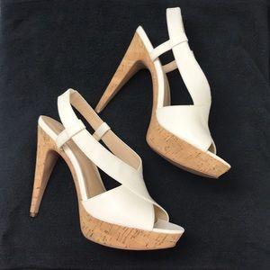 Nine West White Cork Bottom Heels